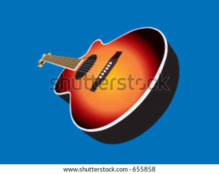 An acoustic guitar in vector format. Sunburst finish can be changed to any colour you wish for a customised look. - stock vector