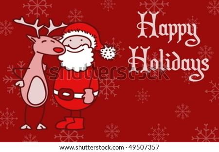 An adorable and funny Christmas greeting card - stock vector