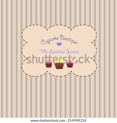 An adorable vintage retro sticker on a striped beige pastel background with cupcakes and a heart for a pastry boutique or store