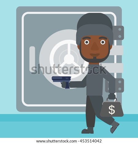 An african-american burglar in mask near the big safe door. Burglar holding hand gun and a bag with dollar sign. Thief stealing money. Vector flat design illustration. Square layout. - stock vector