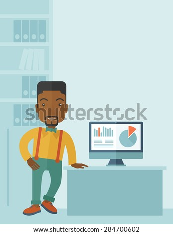 An african-american guy standing  while presenting a graph in business from his computer inside his office. Leadership concept. A contemporary style with pastel palette soft blue tinted background - stock vector