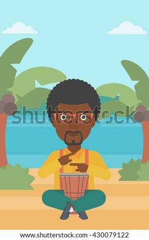 An african-american man playing tomtom on the background of tropical beach with palm trees and the sea vector flat design illustration. Vertical layout. - stock vector