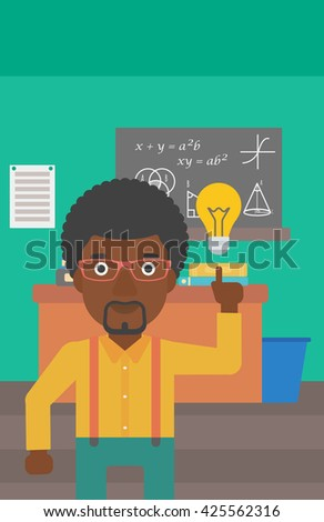 An african-american man pointing a finger at the light bulb on the background of classroom vector flat design illustration. Vertical layout. - stock vector