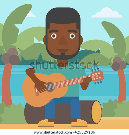 An african-american man sitting on a log and playing a guitar on the background of tropical beach with palm trees and the sea vector flat design illustration. Square layout. - stock vector