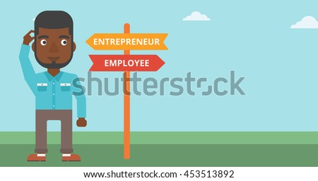 An african-american man standing at road sign with two career pathways. Man choosing career pathway. Man making a decision of his career pathway. Vector flat design illustration. Horizontal layout. - stock vector