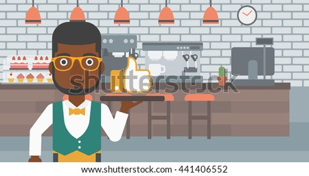 An african-american waiter carrying a tray with like button on a cafe background vector flat design illustration. Horizontal layout. - stock vector