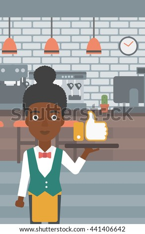 An african-american waitress carrying a tray with like button on a cafe background vector flat design illustration. Vertical layout. - stock vector
