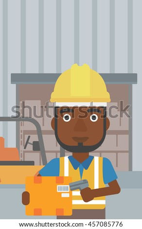 An african-american warehouse worker scanning barcode on box. Warehouse worker checking barcode of box with a scanner. Man in hard hat with scanner. Vector flat design illustration. Vertical layout. - stock vector