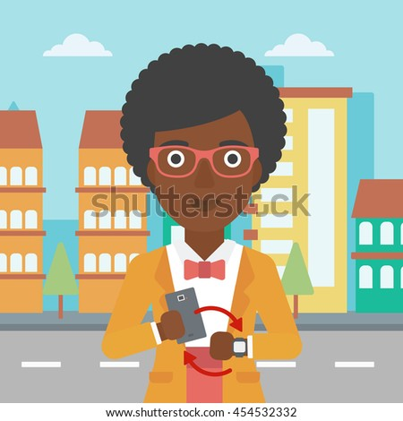 An african-american woman  holding a smartphone looking at her smart watch. Synchronization between smartwatch and smartphone. Vector flat design illustration. Square layout. - stock vector