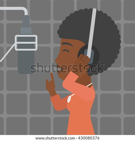 An african-american woman in headphones making a record of her voice in studio vector flat design illustration. Square layout.
