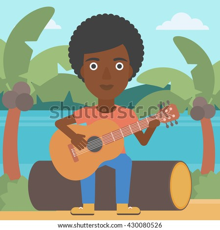 An african-american woman sitting on a log and playing a guitar on the background of tropical beach with palm trees and the sea vector flat design illustration. Square layout. - stock vector