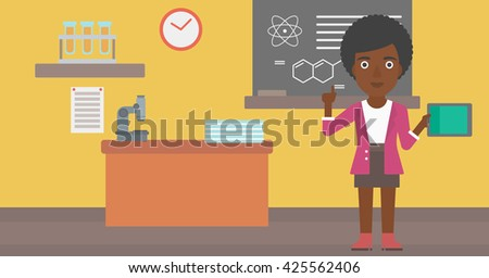An african-american woman standing with a tablet computer and pointing her forefinger up on the background of chemistry class vector flat design illustration. Horizontal layout. - stock vector