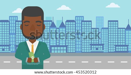 An african-american young businessman in handcuffs with money in hands on the background of modern city. Businessman handcuffed for crime. Vector flat design illustration. Horizontal layout. - stock vector