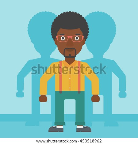 An african-american young man standing with some shadows behind him. Candidat for a position stand out from crowd. Concept of staff recruitment. Vector flat design illustration. Square layout. - stock vector