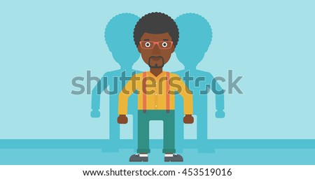 An african-american young man standing with some shadows behind him. Candidat for a position stand out from crowd. Concept of staff recruitment. Vector flat design illustration. Horizontal layout. - stock vector