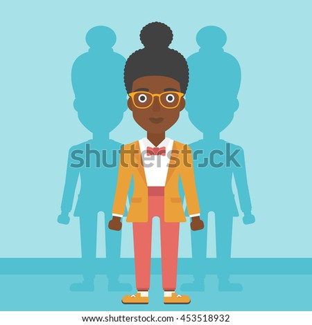 An african-american young woman standing with some shadows behind her. Candidat for a position stand out from crowd. Concept of staff recruitment. Vector flat design illustration. Square layout. - stock vector