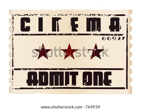 An aged cinema ticket (Vectors 37)