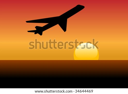 An airline jet silhouette takes off and climbs into a sunset or dawn.