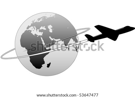 An airline passenger jet airplane travels around the world. - stock vector