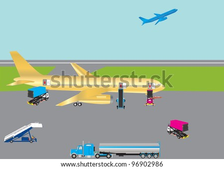 An Airliner being serviced with Hi Lift Vehicles Fuel Tanker and Stairs - stock vector
