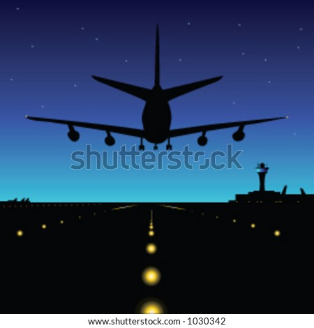 An airliner comes into land in the early hours - vector illustration - stock vector