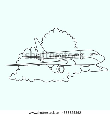 An airplane flying in the clouds. The clouds and the plane. Flying in a cloudy sky. The logo for the airline. Illustration of a passenger plane - stock vector
