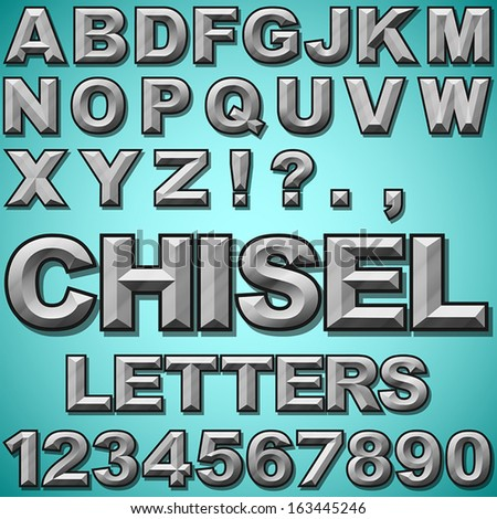 An Alphabet Set of Chiseled Block Letters and Numbers - stock vector