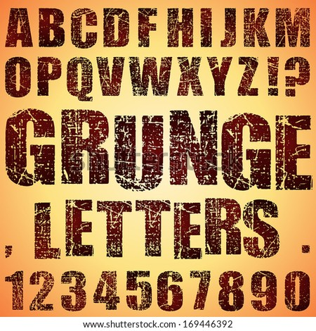An Alphabet Set of Grunge Letters and Numbers - stock vector