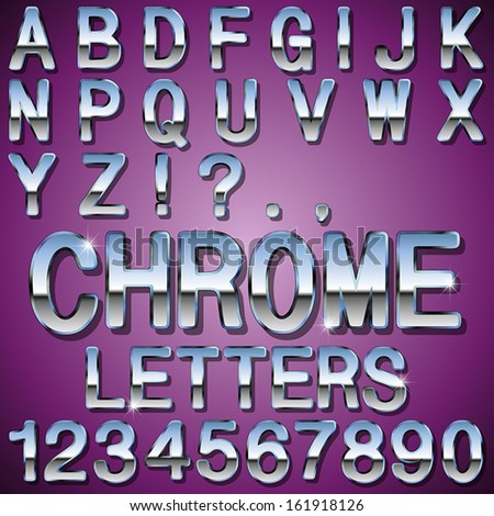 An Alphabet Sit of Shiny Chrome Metal Letters and Numbers - stock vector