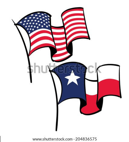 An American And Texas Flag Flying In The Wind