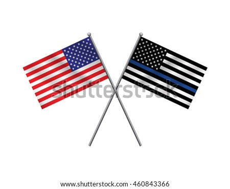 An American flag and police support flag isolated on a white background. Vector EPS 10 available.