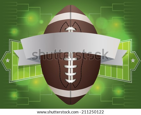 An american football and banner with field background. Vector EPS 10. EPS file contains transparencies. - stock vector
