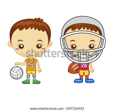 An American football player and a volleyball player isolated on white background.