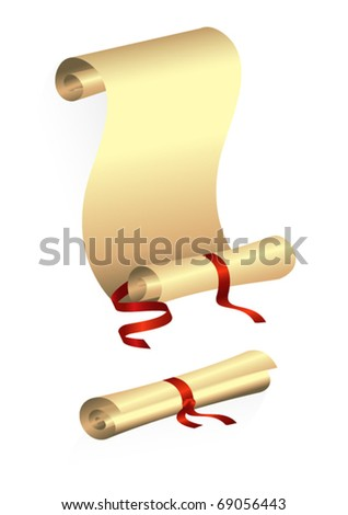 An ancient scroll, tied with red ribbon. Expand and collapse. - stock vector