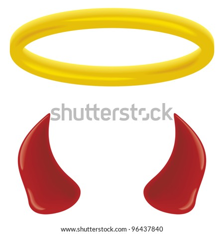An angel's halo and devil's horns isolated on white. - stock vector