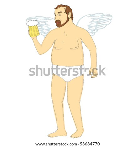 an angel with beer - stock vector