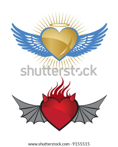 An angelic heart and an evil heart design. Vector illustration. - stock vector