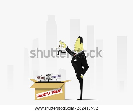 An angry boss firing a man. illustration devoted to problems of job losses and employment - stock vector