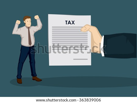 An angry cartoon man and a huge hand, representing tax collector, holding a document with title, Tax. Creative vector illustration on taxation concept isolated on plain background. - stock vector