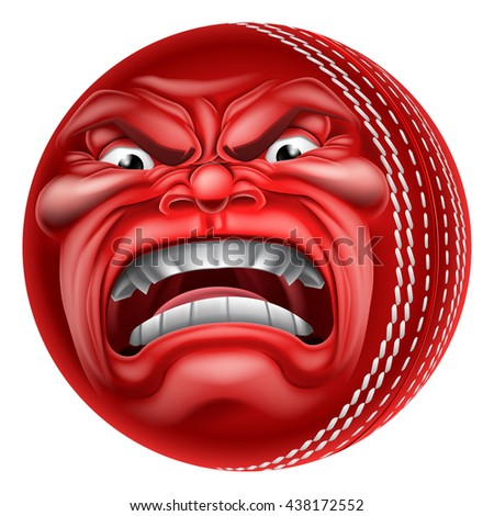 An angry mean looking cricket ball sports cartoon mascot character - stock vector