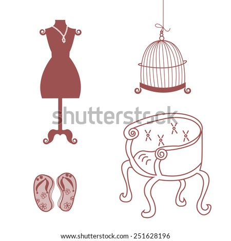 An antique chair, mannequin, flip-flop, cage for a bird. Set of furniture in antique style. - stock vector