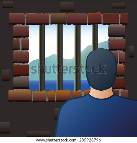 An arrested man is looking out of the barred window of a jail. Vector illustration. - stock vector