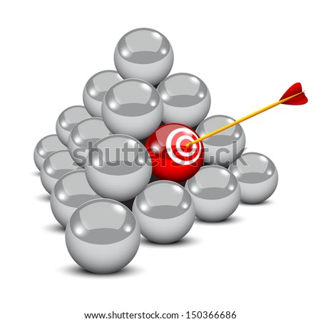An arrow hits the target in a pyramid of balls - symbolizing targeted marketing  - stock vector