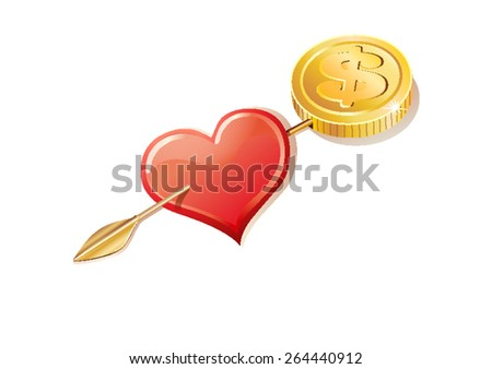 an arrow that ends with a coin pierces a heart symbol - stock vector
