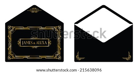 an art deco style invitation envelope - stock vector