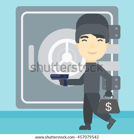 An asian  burglar in mask near the big safe door. Burglar holding hand gun and a bag with dollar sign. Thief stealing money. Vector flat design illustration. Square layout. - stock vector