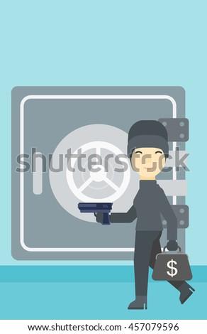 An asian  burglar in mask near the big safe door. Burglar holding hand gun and a bag with dollar sign. Thief stealing money. Vector flat design illustration. Vertical layout. - stock vector