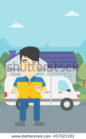 An asian delivery man with box on background of delivery truck. Delivery man carrying cardboard box. Man with a box in his hands. Vector flat design illustration. Vertical layout.