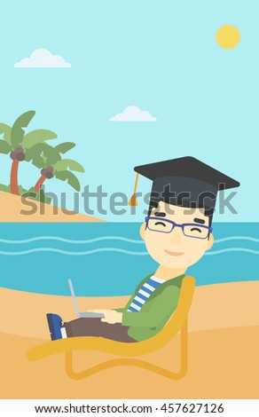 An asian happy graduate lying in chaise long. Young man in graduation cap working on laptop. Graduate on a beach. Vector flat design illustration. Vertical layout. - stock vector