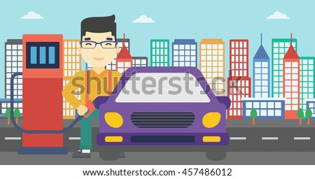 An asian man filling up fuel into the car. Man standing at the gas station and refueling a car. Vector flat design illustration. Horizontal layout. - stock vector